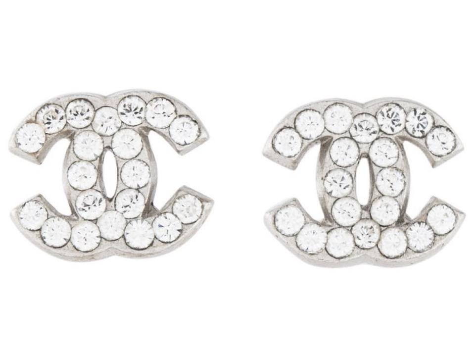 bd1001b1 Chanel Crystal Silver Mini Cc Logo Classic 05p Small Timeless Interlocking  Earrings