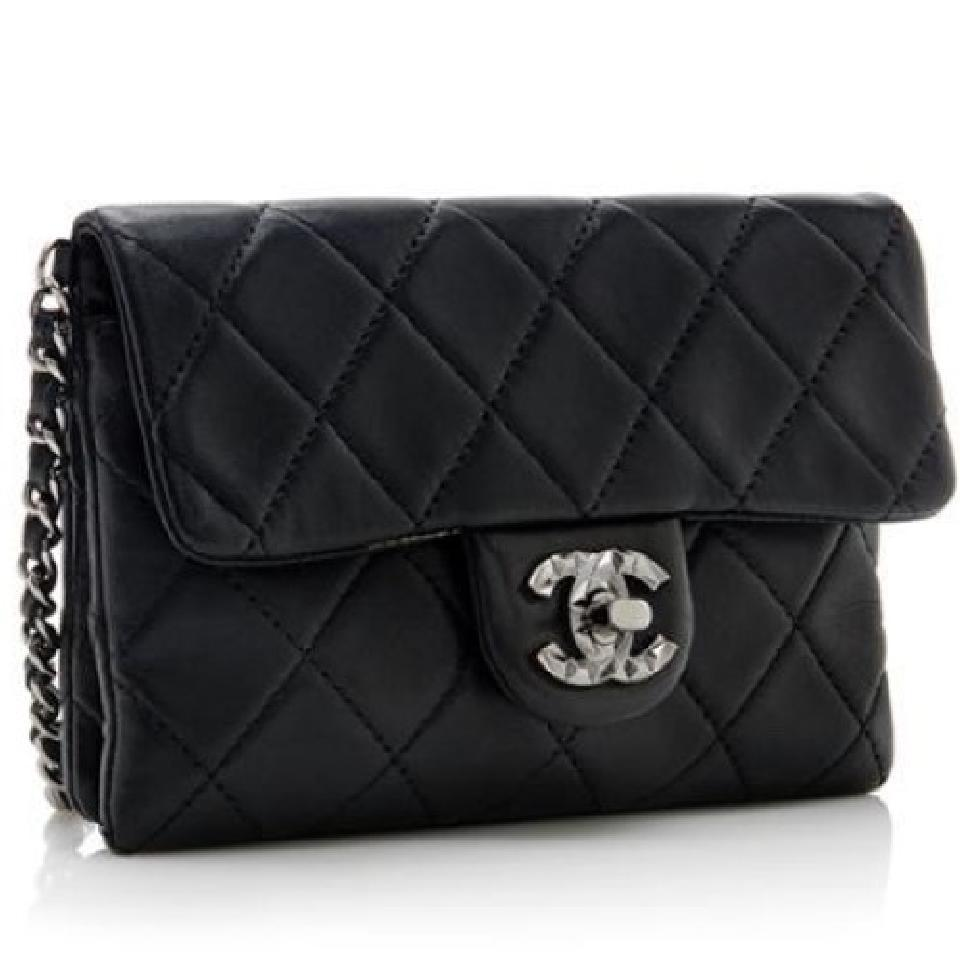 2095e7cd715c26 Chanel Mineral Nights Mini Flap Classic Quilted Cc Woc Wallet On A Chain  Black Lambskin Leather Cross Body Bag - Tradesy