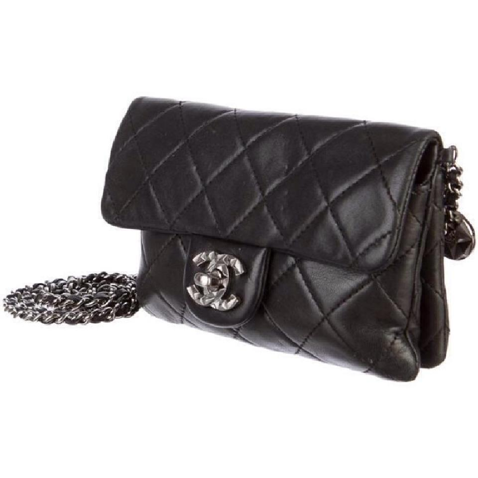 588a4d1bbd94ed Chanel Mineral Nights Mini Flap Classic Quilted Cc Woc Wallet On A Chain  Black Lambskin Leather Cross Body Bag - Tradesy
