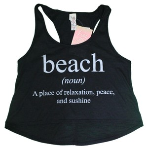 "Miken Miken ""Beach"" Graphic Racer Back Crop Tank Crop Top Cover Up, Black, M"