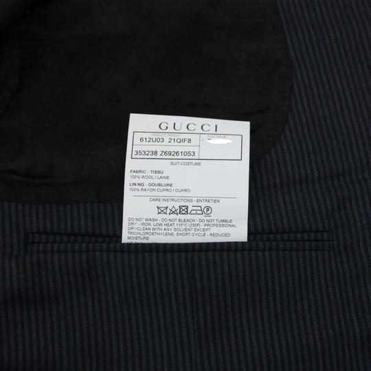 Gucci Black/Gray Classic Stripe Wool Marseille Suit 2 Button It 52r/Us 42r 353238 1053 Groomsman Gift Image 7