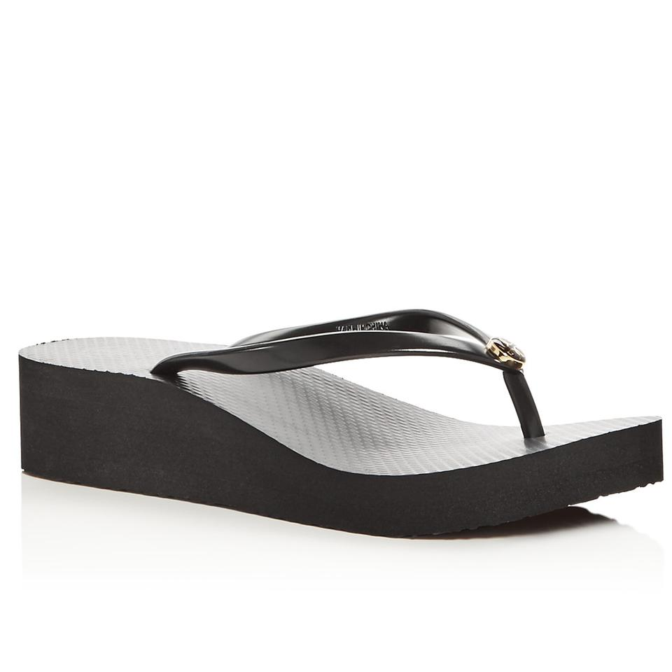 62006329b890a Tory Burch Black Women s Wedge Thin Flip Flop Sandals Size US 8 ...
