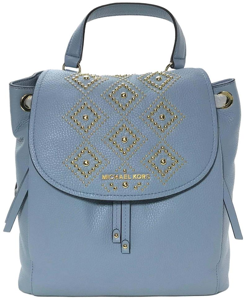 08434a59df96 Michael Kors Riley Large Studded Blue Leather Backpack - Tradesy