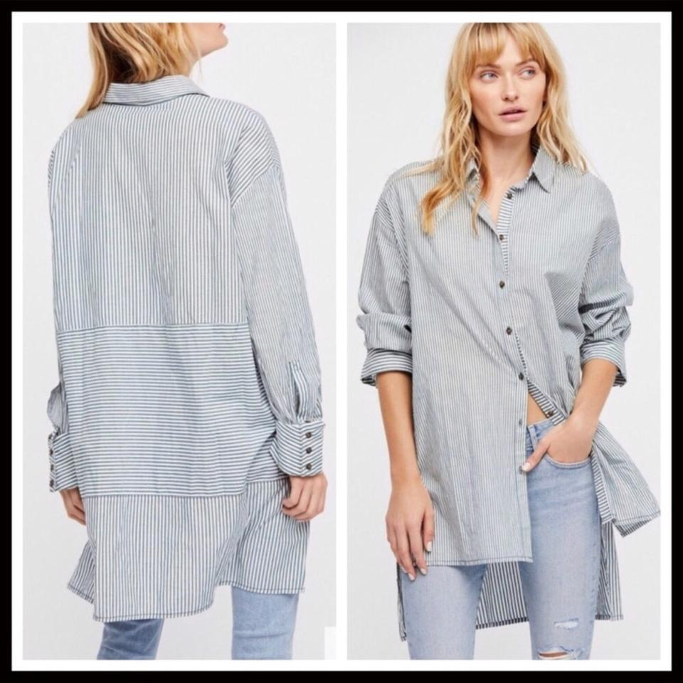 435d0374 Free People Striped Button Down Oversized Shirt Tunic Size 14 (L ...