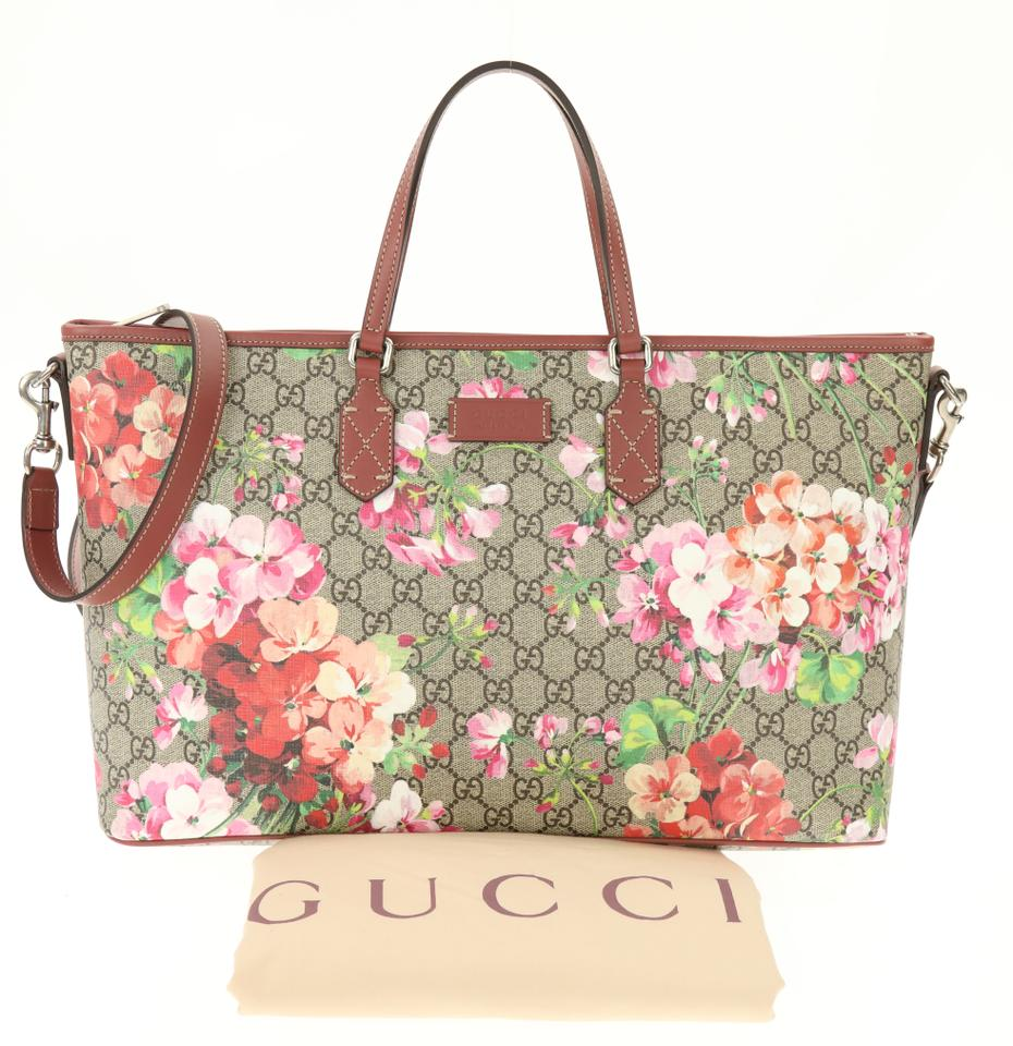 3ab11504db2a17 Gucci Convertible Shopping Gg Blooms Beige Coated Canvas Tote - Tradesy