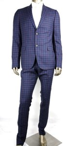 Gucci Blue/Red Blue/Red Wool/Linen/Silk Check Formal Suit 2 Button 48r 406136 4563 Groomsman Gift