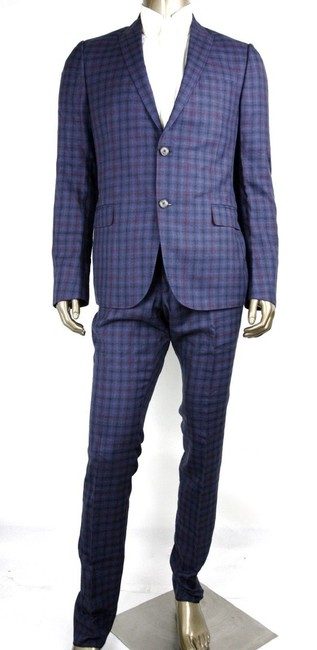 Item - Blue/Red Blue/Red Wool/Linen/Silk Check Formal Suit 2 Button 56r 406136 4563 Groomsman Gift
