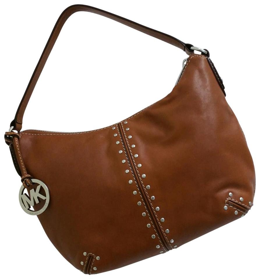 8c9f78950e41 Michael Kors Astor Studded Medium Whiskey Leather Hobo Bag - Tradesy