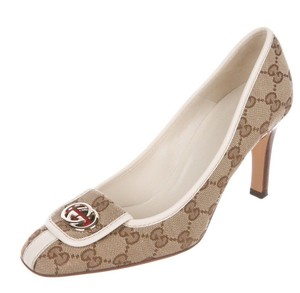 Gucci Heels Gg Logo Monogram Beige tan Pumps
