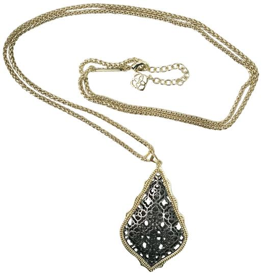 Preload https://item1.tradesy.com/images/kendra-scott-gold-black-aiden-pendant-necklace-23660705-0-2.jpg?width=440&height=440