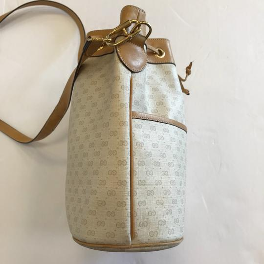 Gucci Vintage Leather Logo Gold Hardware Canvas Cross Body Bag