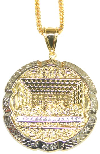 Preload https://img-static.tradesy.com/item/23660777/yellow-gold-14-kt-diamond-cut-franco-chain-with-last-supper-pendant-necklace-0-1-540-540.jpg
