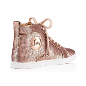 Christian Louboutin Lace Sequin Pink Gold Version Nude Metallic Athletic