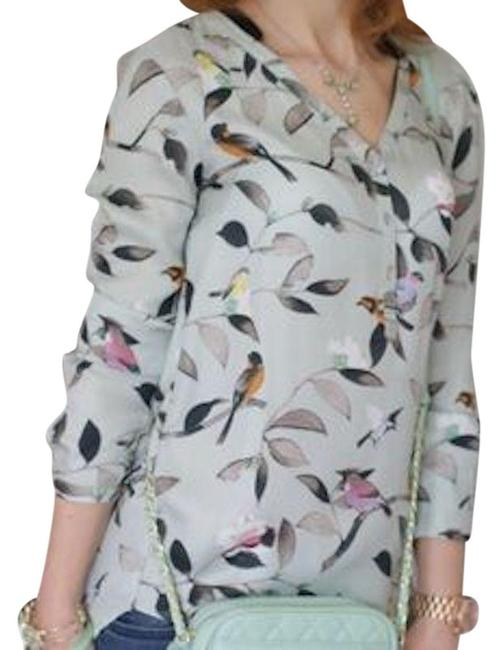 Preload https://img-static.tradesy.com/item/23660791/zara-mint-bird-print-blouse-size-2-xs-0-3-650-650.jpg
