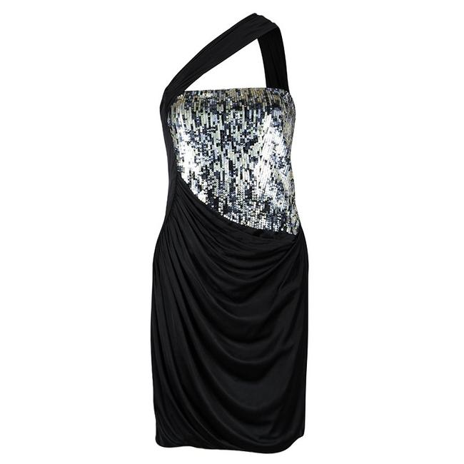 Preload https://item2.tradesy.com/images/roberto-cavalli-black-knit-sequinned-panel-detail-one-shoulder-draped-mid-length-formal-dress-size-1-23660806-0-0.jpg?width=400&height=650
