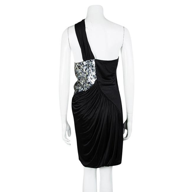 Roberto Cavalli Knit Sequin Panel Detail Draped Dress