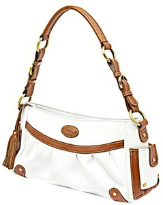 Tod's Pebble Leather Satchel in White and Brown