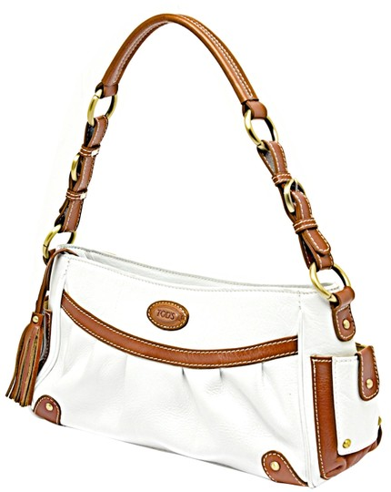 Preload https://item5.tradesy.com/images/tod-s-pebble-with-brass-hardwarestitching-white-and-brown-leather-satchel-23660809-0-1.jpg?width=440&height=440