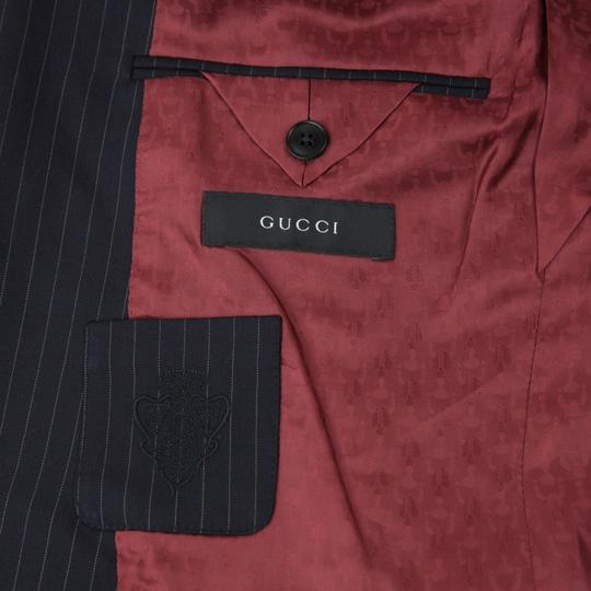 Gucci Blue Cotton Marseille Striped Suit 2 Buttons 1 Vent 48r/Us 38r 234096 4240 Groomsman Gift