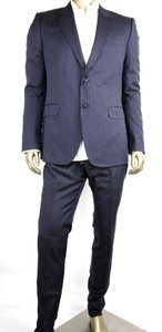 Gucci Blue Cotton Marseille Striped Suit 2 Buttons 1 Vent 52r/Us 42r 234096 4240 Groomsman Gift