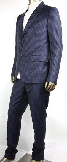 Gucci Blue Striped Wool Suit 2 Button 2 Vents It 50r/Us 40r 353232 4240 Groomsman Gift