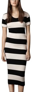 N W O T - Silk Black and White striped Maxi Dress by Burberry London