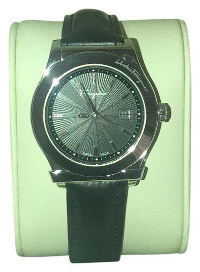 Preload https://item4.tradesy.com/images/salvatore-ferragamo-black-leather-and-silver-firenze-watch-23660953-0-1.jpg?width=440&height=440
