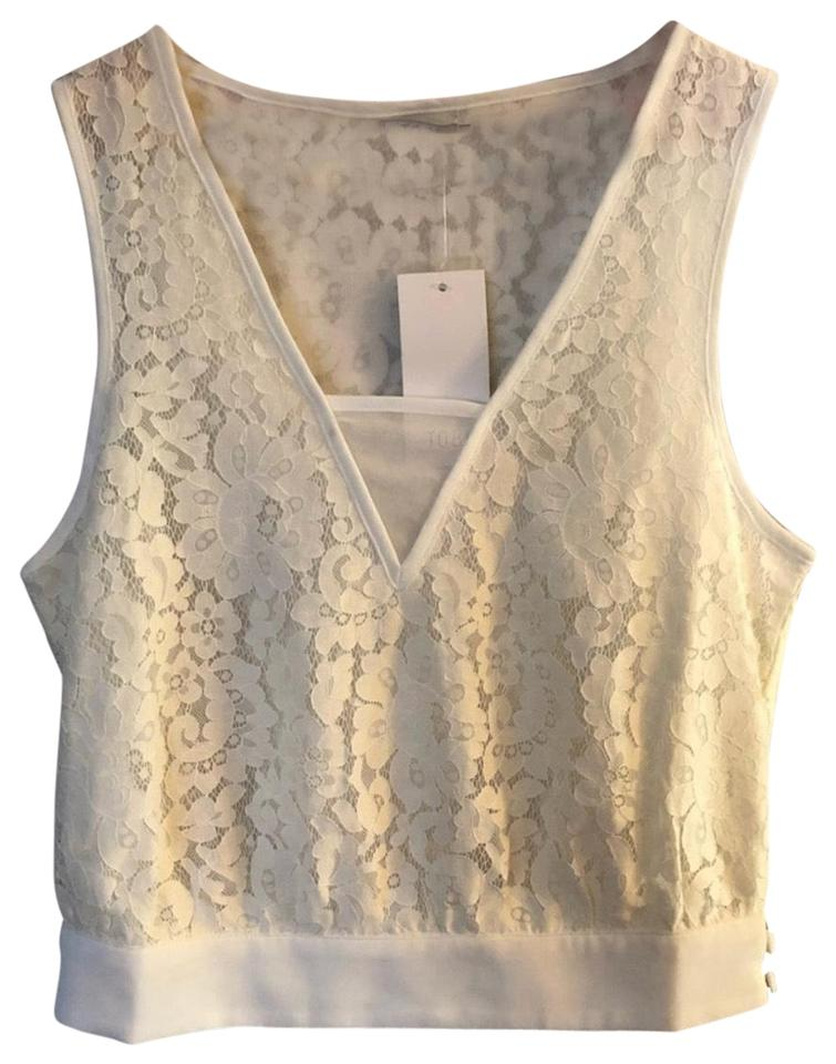 63ee9d6d24a0e Tobi White Lace Sleeveless V-neck Blouse Tank Top/Cami Size 12 (L ...