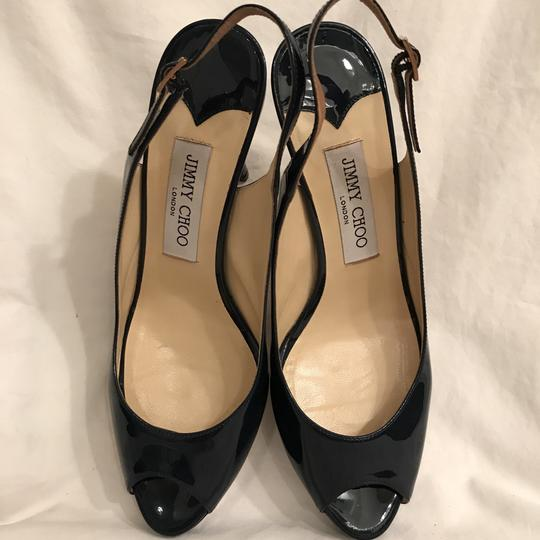 Jimmy Choo Pump Patent Leather Slingback Peep Toe Peekaboo Blue Platforms