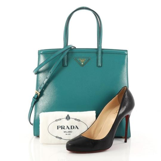 Prada Leather Tote in turquoise