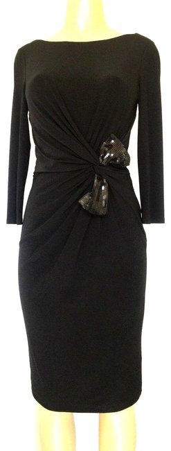 Preload https://item3.tradesy.com/images/armani-collezioni-black-ruched-sheath-jersey-sequin-bow-twist-mid-length-cocktail-dress-size-4-s-23661102-0-1.jpg?width=400&height=650