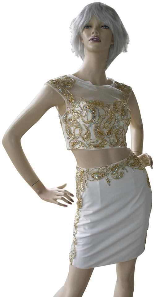 Jovani White / Gold 2 Piece Pencil Home Coming Prom 26939a Short ...