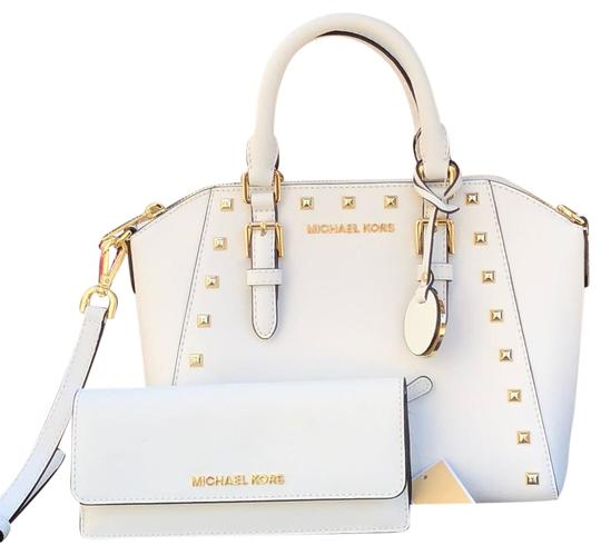 Preload https://item5.tradesy.com/images/michael-kors-mk-ciara-mediumtotecrossbody-matching-wallet-set-white-with-gold-studs-saffiano-leather-23661129-0-1.jpg?width=440&height=440