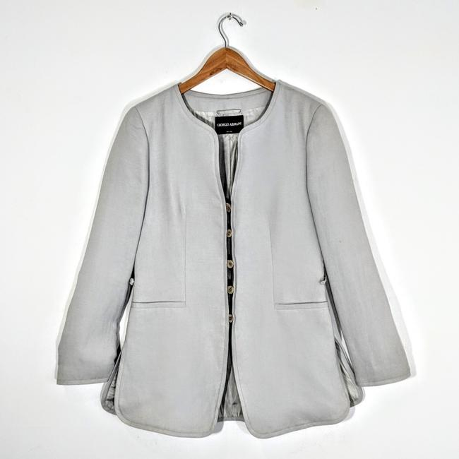 Preload https://img-static.tradesy.com/item/23661226/giorgio-armani-grey-silk-and-linen-deconstructed-jacket-blazer-size-10-m-0-1-650-650.jpg