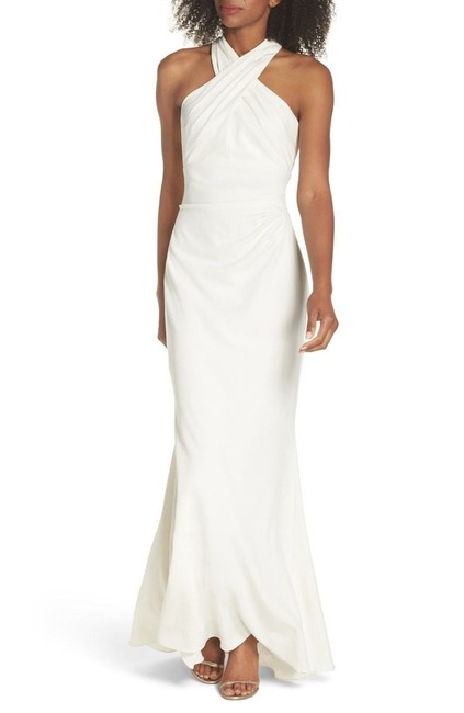 Preload https://item3.tradesy.com/images/eliza-j-ivory-cross-neck-pleat-halter-neck-gown-long-formal-dress-size-10-m-23661262-0-1.jpg?width=400&height=650