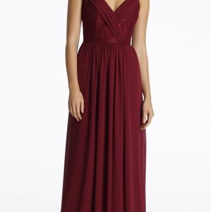 Hayley Paige Burgundy Lace/Chiffon 5612 Feminine Bridesmaid/Mob Dress Size 10 (M)