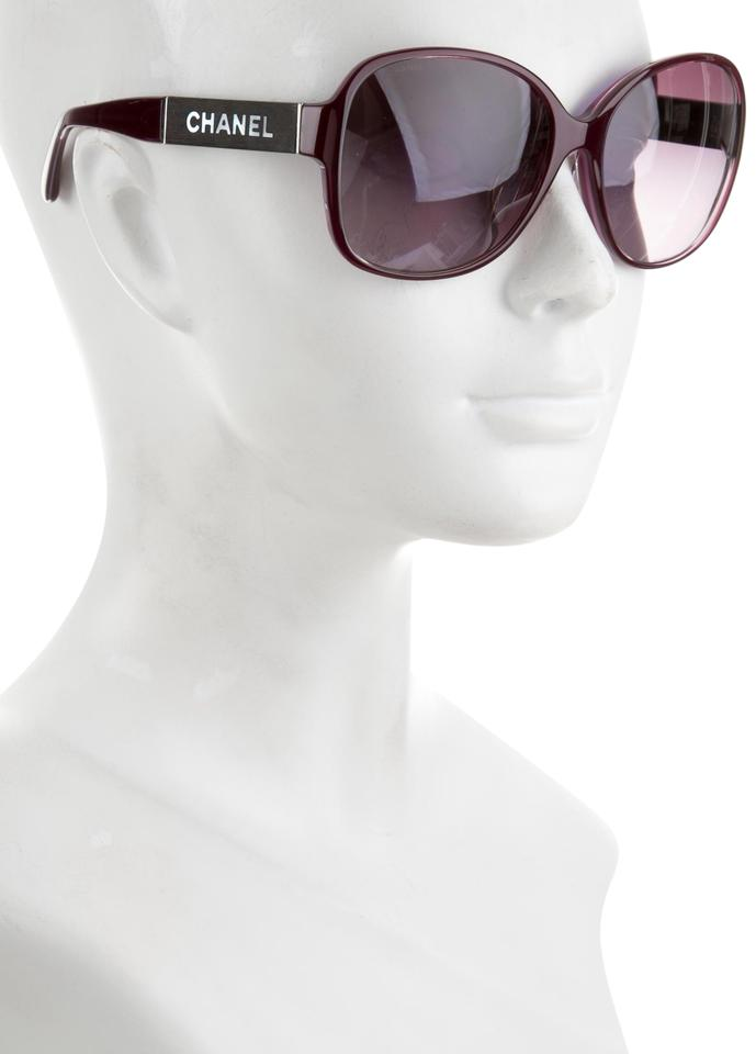 7571cae60bbb Chanel Purple Silver Pearl 5198 Wood Grain Mother Of Mop Square Butterfly Cc  Logo Oversized Sunglasses