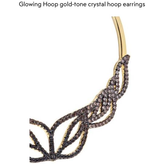 nOir Glowing Hoop Gold-Tone Crystal Earrings