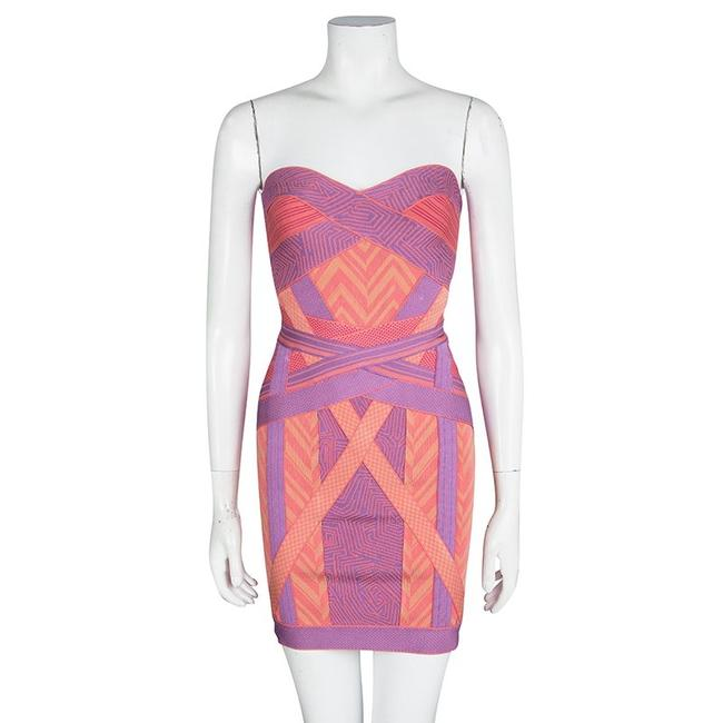 Hervé Leger Chevron Strapless Dress