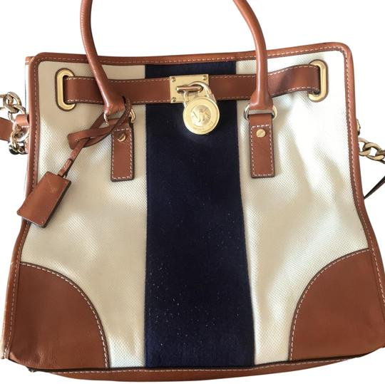 Preload https://item2.tradesy.com/images/michael-kors-and-navy-with-gold-tan-canvas-tote-23661386-0-1.jpg?width=440&height=440