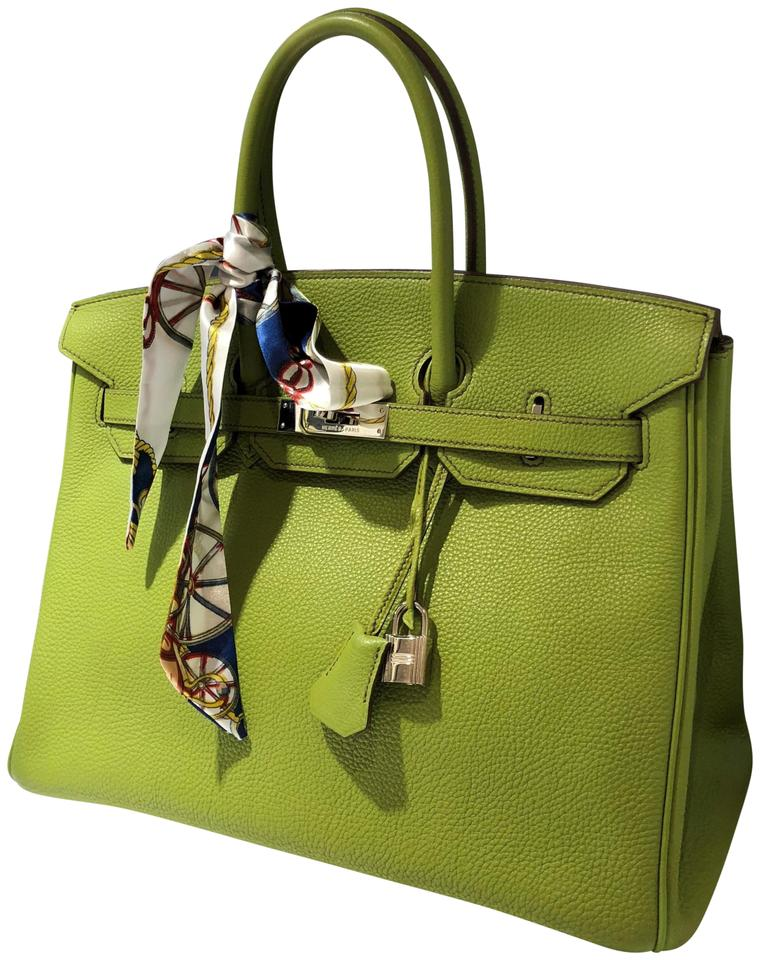 8f9b2b3d7a2 Hermès Birkin 35cm Lime Silver Plated Square K Green Leather Tote ...