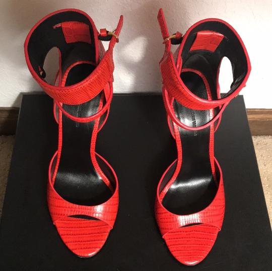 Alexander Wang red crocodile embossed leather Sandals
