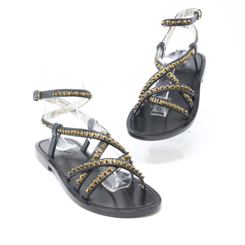 3025145f7874a6 Dsquared2 Black Ds2 Embellish Beaded Sequins Criss Cross Strap Sandals