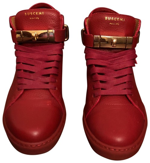 Preload https://item1.tradesy.com/images/buscemi-red-100mm-high-top-sneakers-size-eu-39-approx-us-9-regular-m-b-23661515-0-1.jpg?width=440&height=440