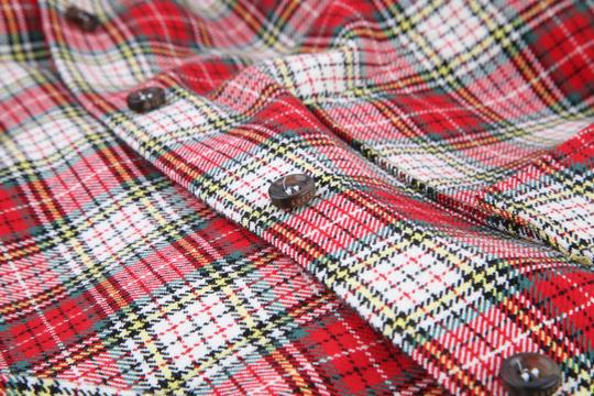 Gucci Red White Multi Color Snake Wreath Plaid Cotton Shirt