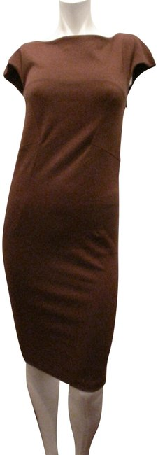 Item - Brown Cap Short Sleeve Mid-length Cocktail Dress Size 4 (S)