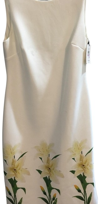 Item - White Green Yellow Summer Time Mid-length Cocktail Dress Size 6 (S)