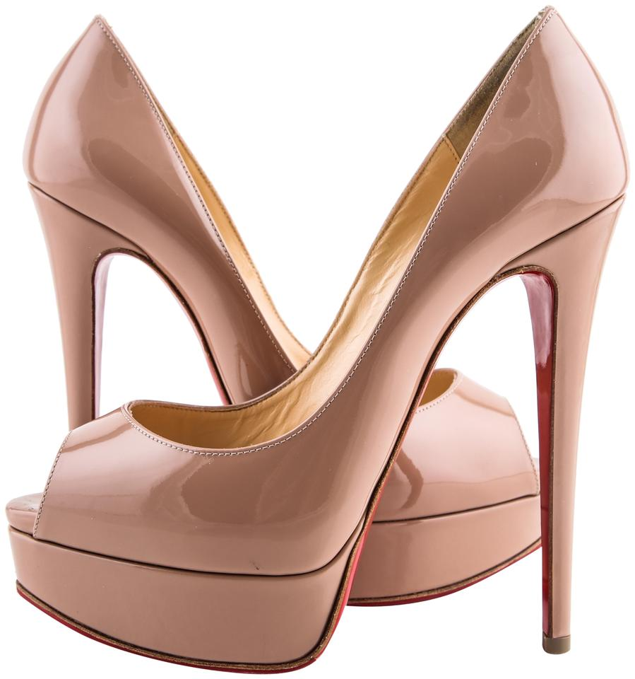 finest selection b7d49 50bba Christian Louboutin Beige Lady Peep Patent Calf Nude (Beige) Pumps Size US  7.5 Regular (M, B) 23% off retail