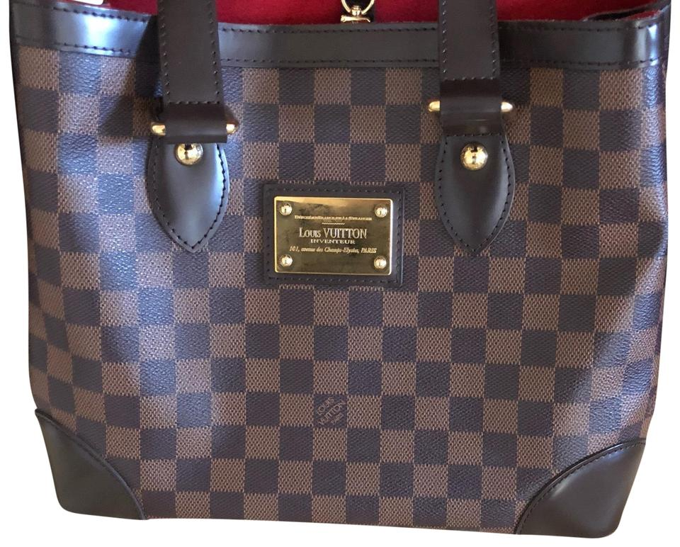 Louis Vuitton Hampstead Pm Damier Ebene Canvas and Leather Tote ... 11b3ee72f8759