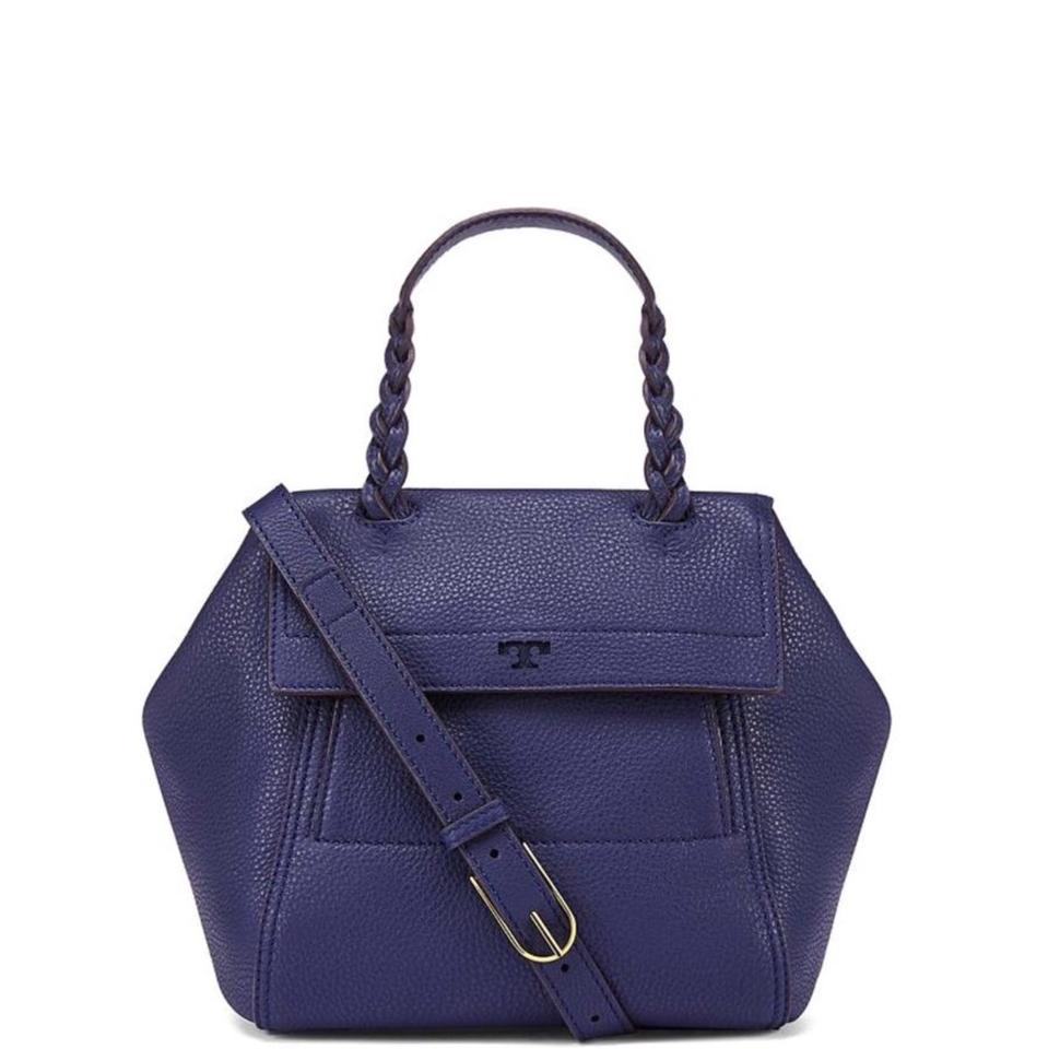 Tory Satchel Leather Moon Burch Body Bag Cross Navy Small Half 7nqfRr7